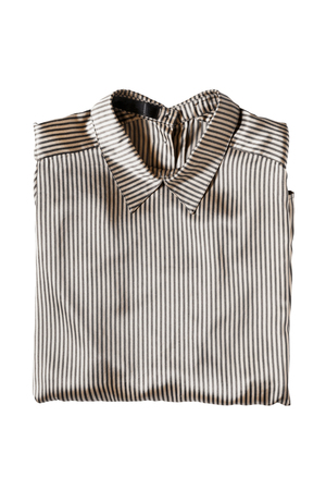 formal dressing: Folded satin striped blouse isolated over white