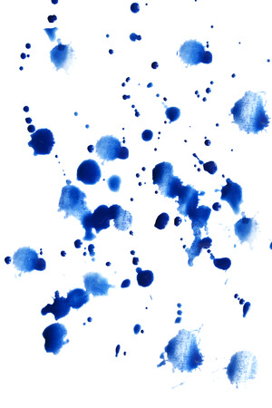splotches: Blue watercolor paint splatter isolated over white Stock Photo