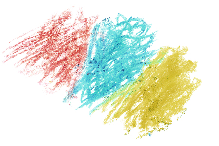 Abstract colorful crayon drawing isolated over white