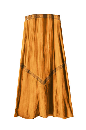 maxi: Yellow ethnic maxi skirt isolated over white