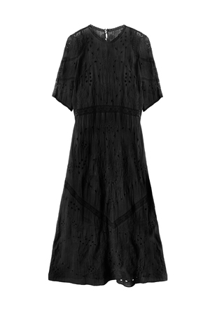 maxi dress: Black lacy long dress isolated over white Stock Photo