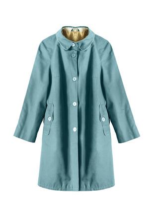 Vintage blue raincoat isolated over white Stock Photo