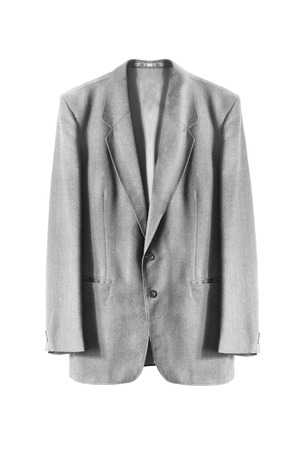 basic: Basic gray wool jacket on white background Stock Photo