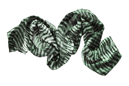 Crumpled silk green scarf isolated over white Stock Photo