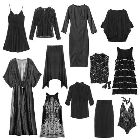 白の背景に黒の女性服のセット