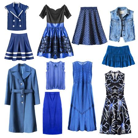 白い背景の青い女性服のセット