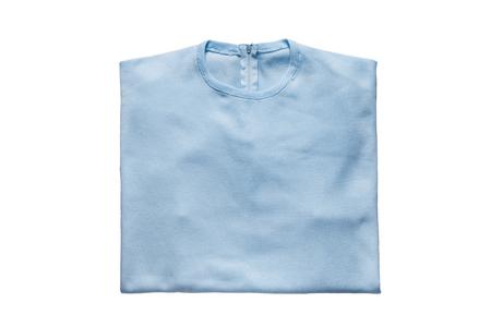 sudadera: Folded blue sweatshirt on white background