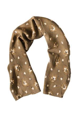 Brown silk scarf folded on white background