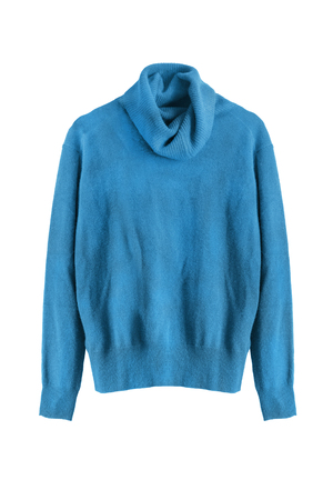 Blue cashmere sweater isolated over white Stock Photo