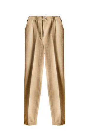 beige: Beige linen pants isolated over white