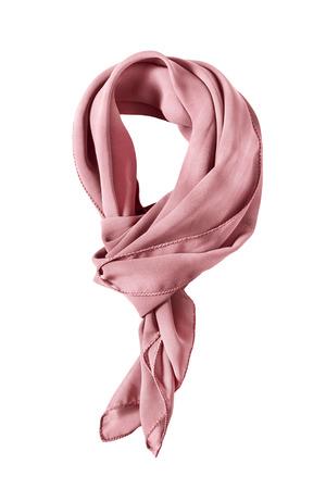 白で分離されたピンクのシルク結ばれたネッカチーフ