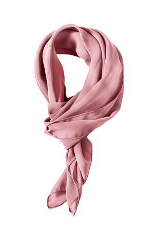 Pink silk tied neckerchief isolated over white Stock Photo