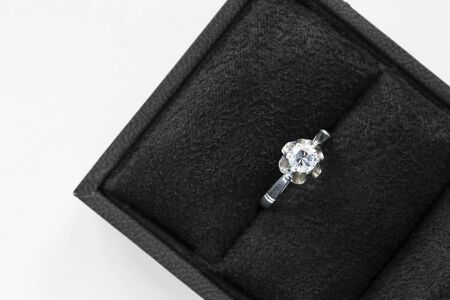Diamond ring in black jewel box closeup