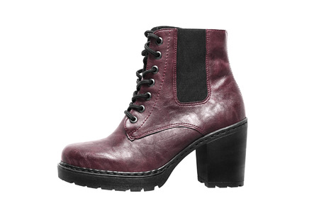 High heel maroon leather boot isolated over white Stock Photo
