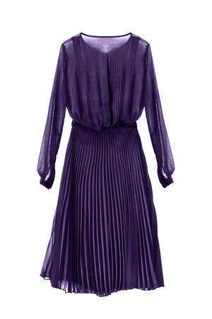 Elegant purple chiffon dress with pleated skirt on white background