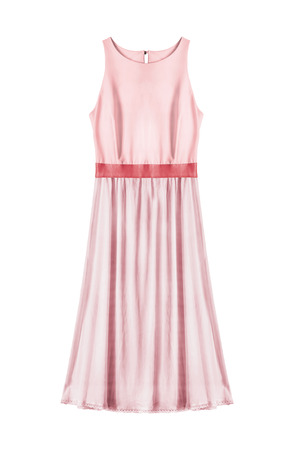 Pastel pink silk elegant dress on white background