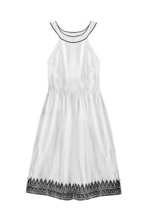 White vintage halter cotton dress isolated over white Stock Photo