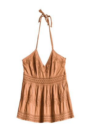 d66f9210b1aa6f Yellow embroidered ethnic halter top on white background