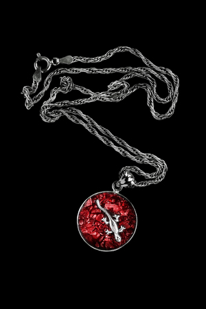 figurine: Red ruby medallion with silver lizard figurine on black background