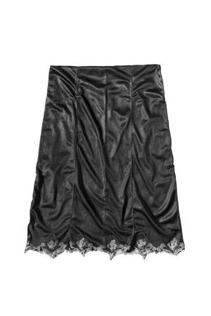 Black satin midi skirt isolated over white