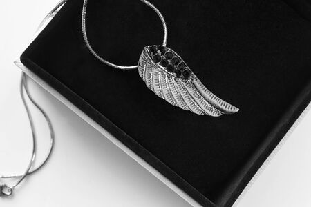 Silver wing pendant with black crystals in jewel box closeup