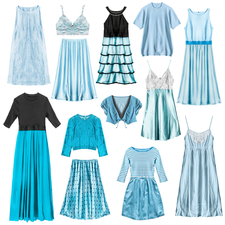 Set of cyan woman clothes isolated over white