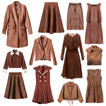 velvet dress: Set of brown woman clothes isolated over white