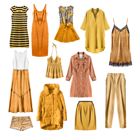 strip shirt: Set of yellow woman clothes on white background