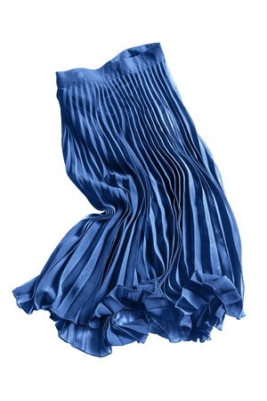 Crumpled blue pleated chiffon skirt on white background Stock Photo