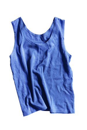 Crumpled blue sport tank top on white background