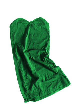 Green strapless crumpled top on white background