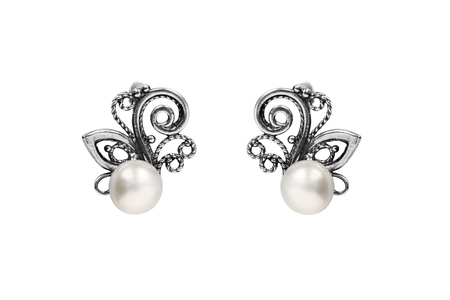 Elegant silver pearl earrings on white background Stock Photo