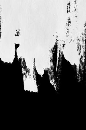 黒の背景に白のペイント ブラシ ストローク 写真素材