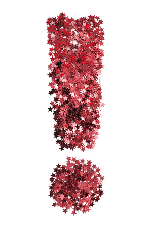 Red glitter in the shape of exclamation point on white background Stock Photo
