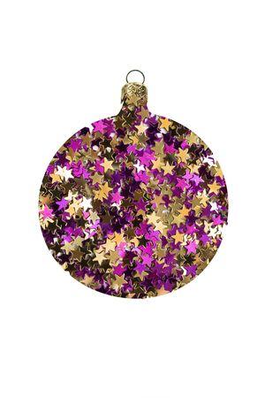 Gouden en paars glitter in de vorm van kerst decoratieve bal geïsoleerd over wit