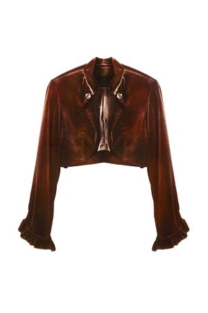 Brown velvet short jacket with long sleeves isolated over white