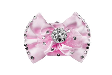 Arc de satin rose orné de cristaux isolés sur blanc Banque d'images - 88477300