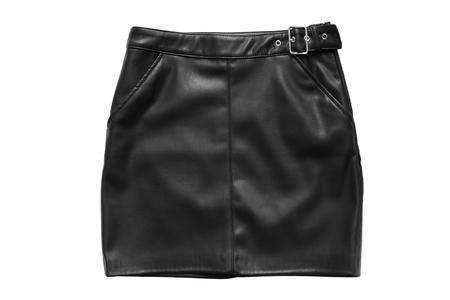 Black leather mini skirt isolated over white