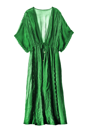 Green chiffon transparent lacy peignoir on white background Banco de Imagens