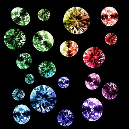 Abstract group of colorful shiny gems on black background