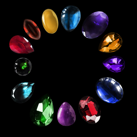 Set of colorful gemstones and minerals on black background Stock Photo