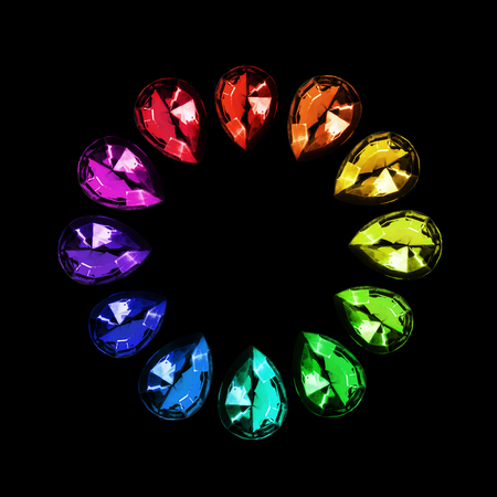 Group of rainbow colored shiny gems on black background Banco de Imagens