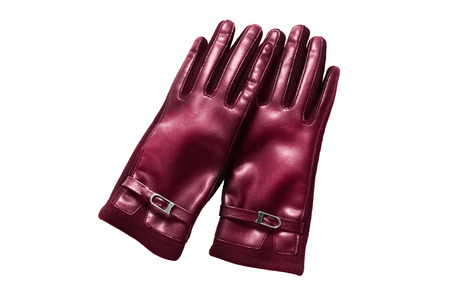 Pair of elegant maroon leather gloves isolated over white