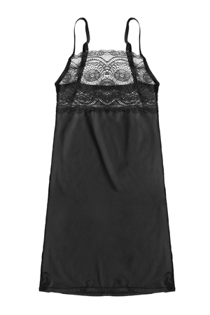 Black silk lacy nightdress isolated over white background Banco de Imagens