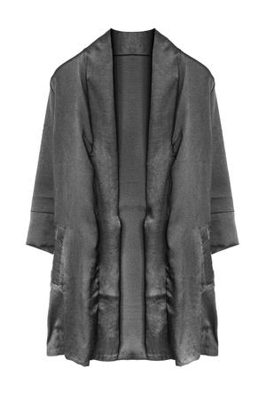 Black silk kimono jacket isolated over white