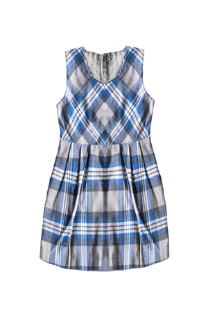 Blue tartan wool school uniform dress isolated over white