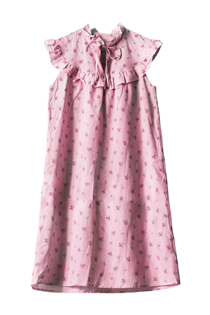 Pink cotton sleeveless nightdress isolated over white