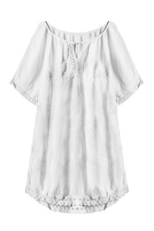 White linen ethnic oversized dress on white background