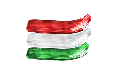 Paint brush strokes in colors of hungary national flag on white background