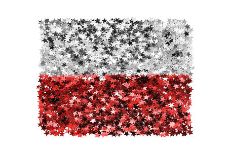Metallic tinsel stars in colors of polish national flag isolated over white